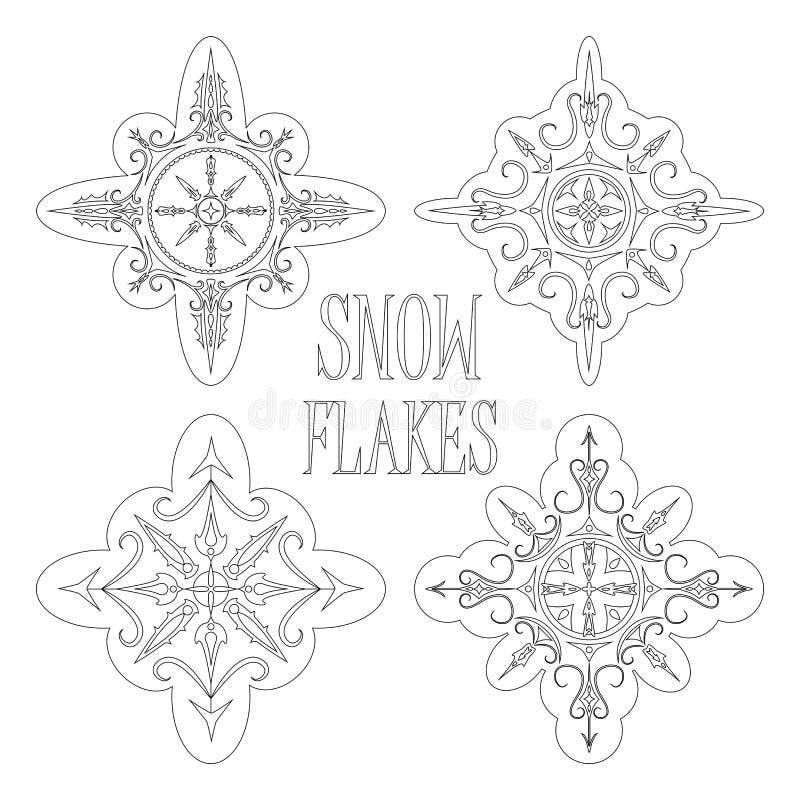 Skisserade snöflingor för säsongsbetonad design för färga eller för vinter royaltyfri illustrationer