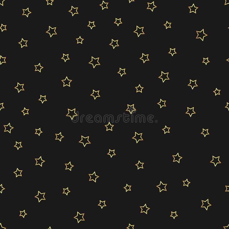 Skisserar abstrakta guld- stjärnor för vektor den sömlösa modellen på den svarta bakgrunden stock illustrationer
