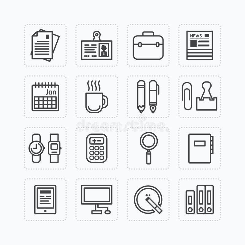 Skisserar den plana symbolsuppsättningen för vektorn av hjälpmedel för affärskontor begrepp royaltyfri illustrationer