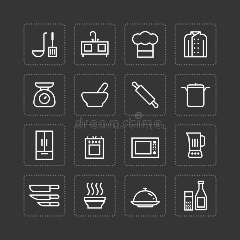 Skisserar den plana symbolsuppsättningen för vektorn av kökmatlagninghjälpmedel begrepp stock illustrationer