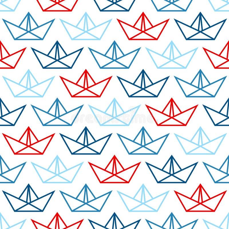 Skisserar stora pappers- fartyg för sömlös modell blått och rött royaltyfri illustrationer