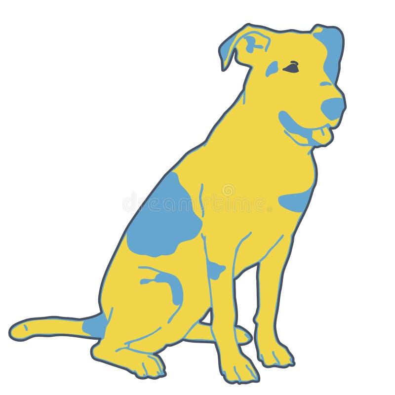 Skisserat svartvitt hundsammanträde för vektor Smart och bed?rande vovve royaltyfri illustrationer