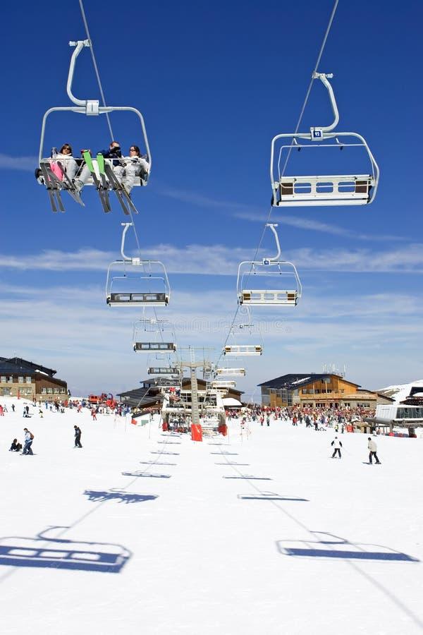 Skisteigungen des Pradollano Skiorts in Spanien lizenzfreie stockfotografie