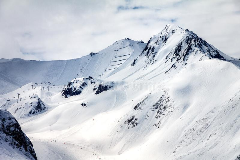 Skisteigungen in Ischgl stockbilder