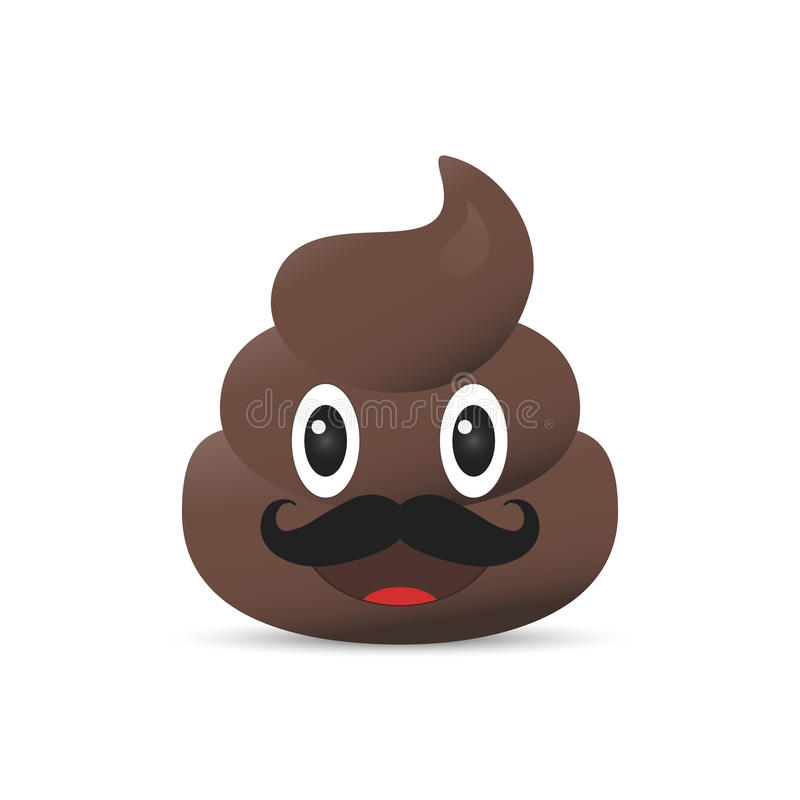 Skiten emoji Bajsemoticon Isolerad akterframsida royaltyfri illustrationer