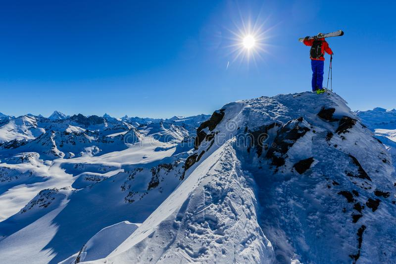 Skitouring with amazing view of swiss Alps stock images