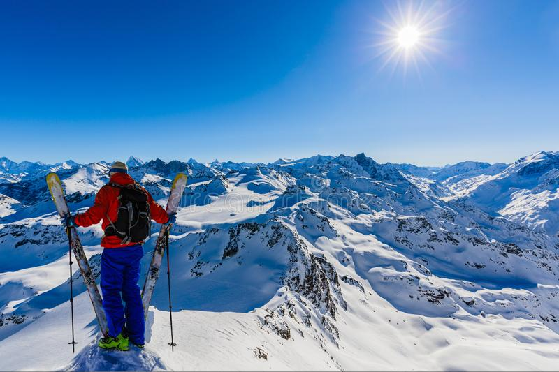 Skitouring with amazing view of swiss Alps royalty free stock images