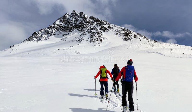 Skitouring perto de Piz Buin 3 foto de stock