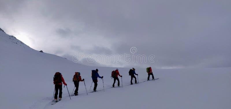 Skitouring perto de Piz Buin 3 foto de stock royalty free