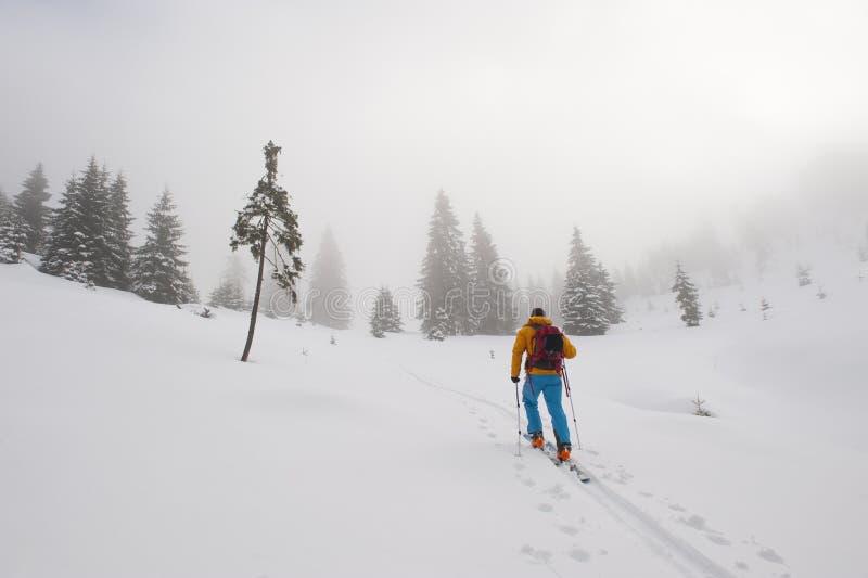 Skitouring subida em um dia nevoento foto de stock royalty free