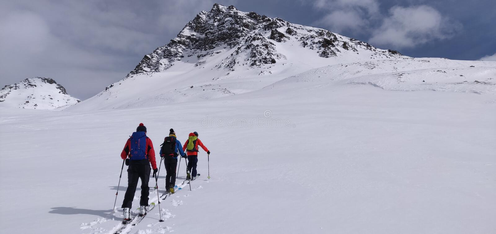 Skitouring in the swiss alps royalty free stock photos