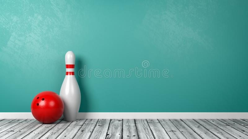 Skittle with Bowling Ball in the Room stock illustration
