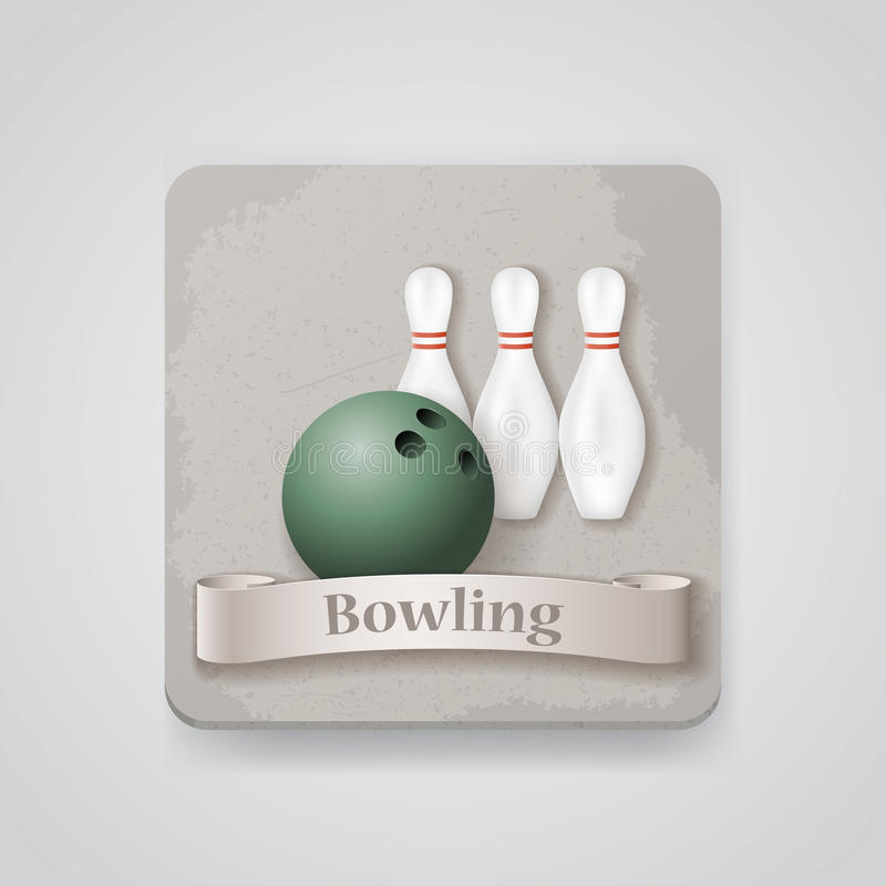 Skittles and ball for bowling game vector icon. vector illustration