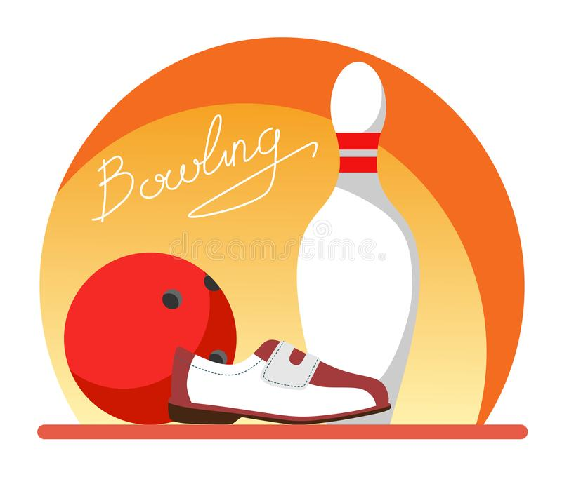 Skittles, ball and bowling shoes with text Bowling. Flat style illustration. royalty free illustration