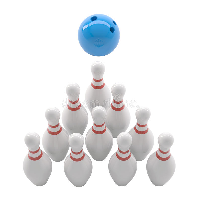 Skittles and blue bowling ball stock illustration