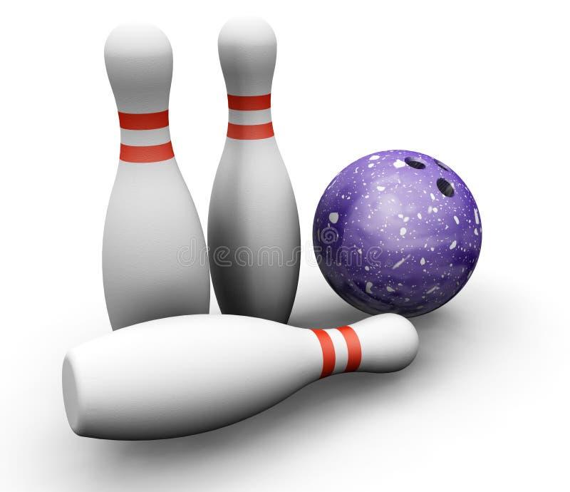 Skittles et bille de bowling illustration libre de droits