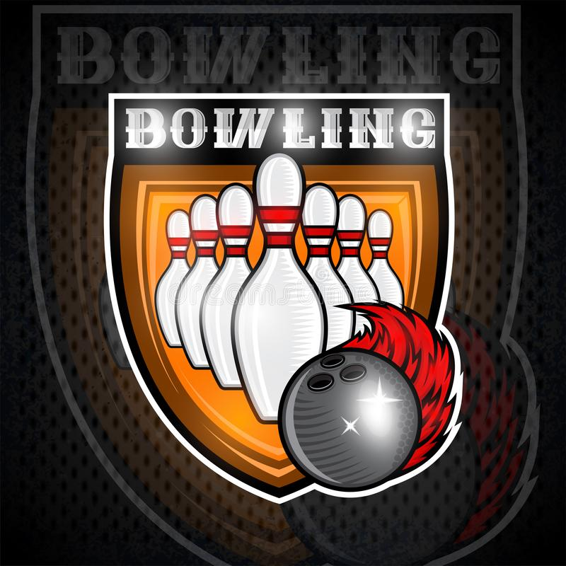 Free Skittles For Bowling And Ball With Red Fire Trail In Center Of Shield. Sport Logo For Any Team Royalty Free Stock Photo - 134320995
