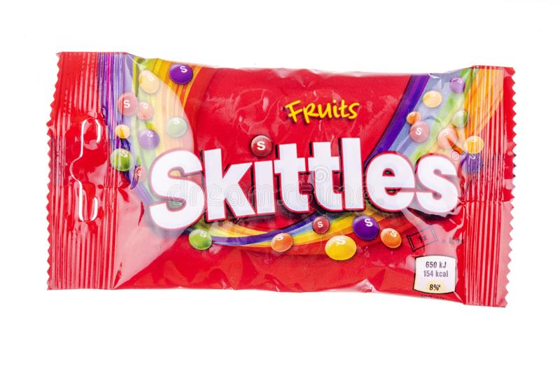 Skittles fruit-flavoured candies isolated on white background. Nowadays Skittles produced and marketed by the Wrigley Company Wrigley Company a division of stock photos