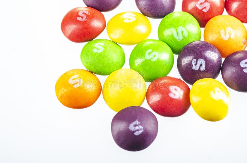 Skittles fruit-flavoured candies isolated on white background. Nowadays Skittles produced and marketed by the Wrigley Company Wrigley Company a division of stock photo