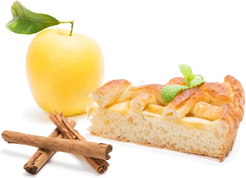 Skiva av äppelpajen fotografering för bildbyråer