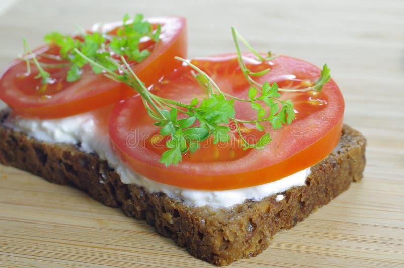 Skiva av bröd med keso royaltyfria foton