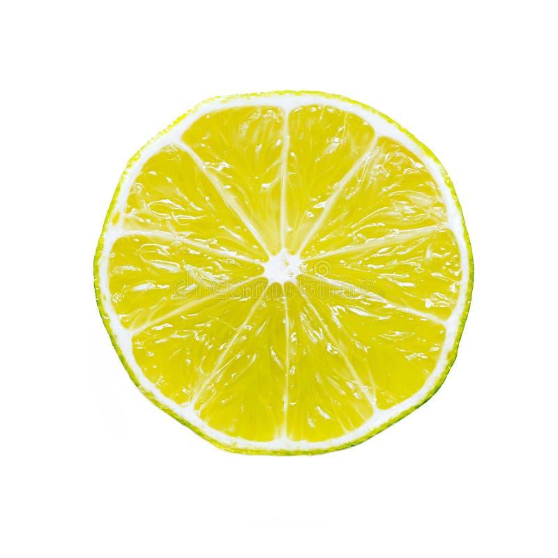 Skiva av citroncitrusfrukt som isoleras på vit bakgrund fotografering för bildbyråer