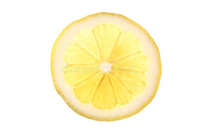 Skiva av citronen som isoleras på vit bakgrund med urklippbanan och kopieringsutrymme för din text arkivfoto