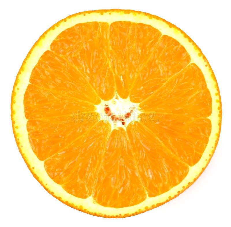 Skiva av den nya apelsinen som isoleras på vit bakgrund arkivfoton