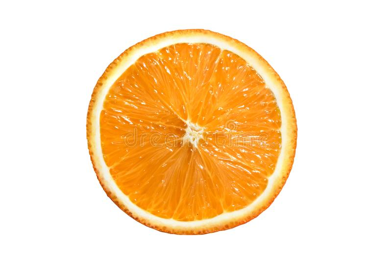 Skiva av den orange mandarinen som isoleras på vit bakgrund arkivfoto