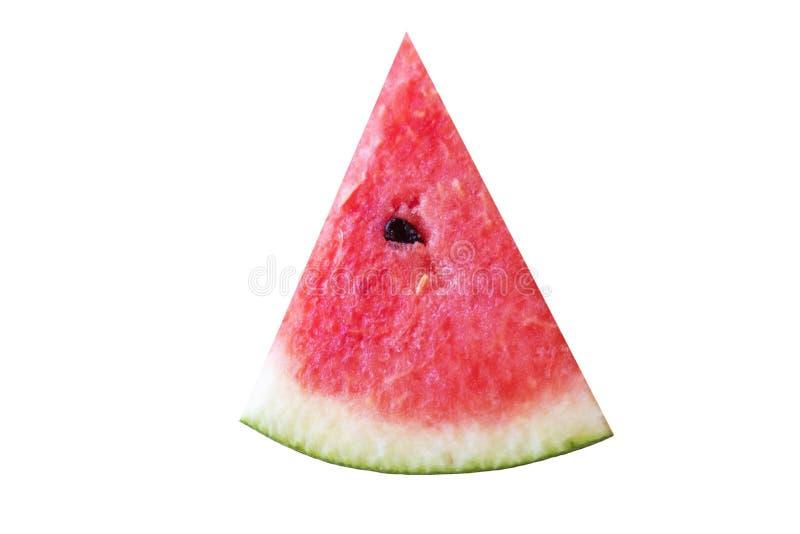 Skiva av den söta fruktvattenmelon som isoleras på vit bakgrund av mappen med urklippbanan royaltyfri bild