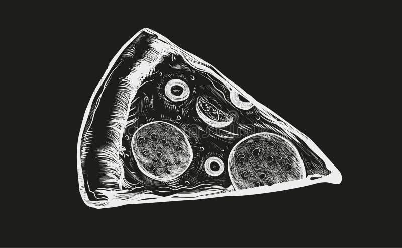 Skiva av l?cker pizza med tomater, salami och oliv Utdragen vektorillustration f?r hand av italiensk mat som isoleras p? royaltyfri illustrationer