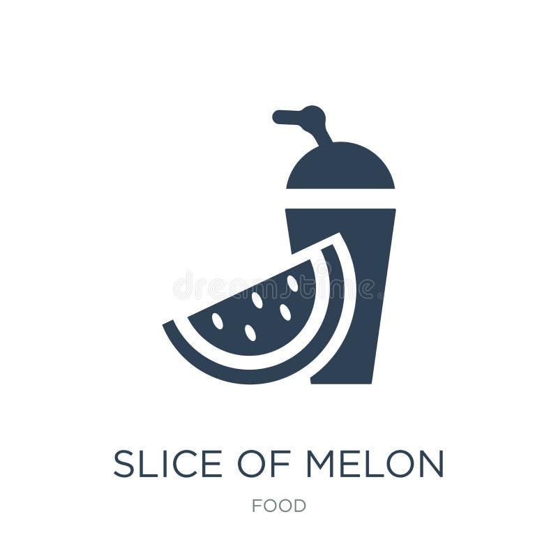 skiva av melon- och fruktsaftsymbolen i moderiktig designstil skiva av melon- och fruktsaftsymbolen som isoleras på vit bakgrund  vektor illustrationer