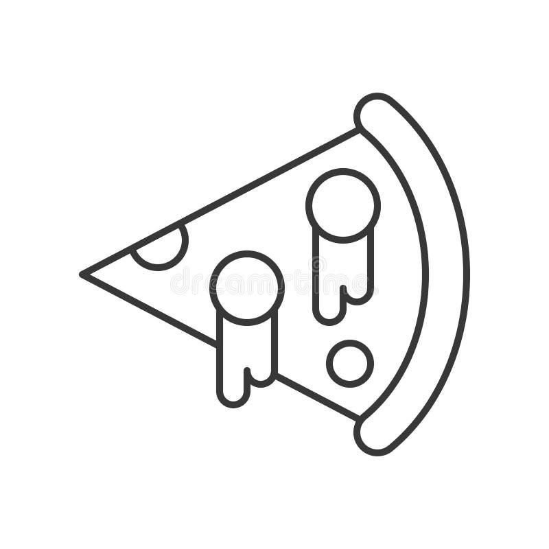 Skiva av ostpizza, översiktsvektorsymbol royaltyfri illustrationer