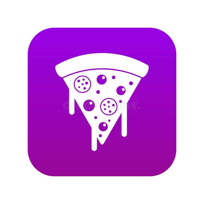 Skiva av pizza med salami, smältt digital lila för ostsymbol stock illustrationer