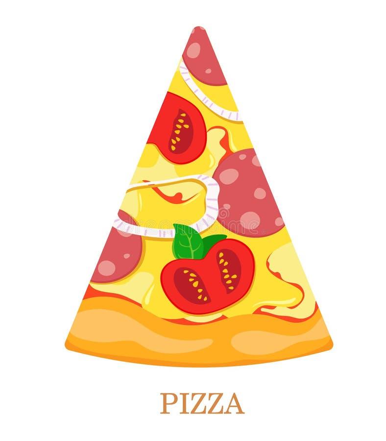 Skiva av pizza med tomater, salami, lökar, oliv och basilika white f?r vektor f?r bakgrundsillustrationhaj royaltyfri illustrationer