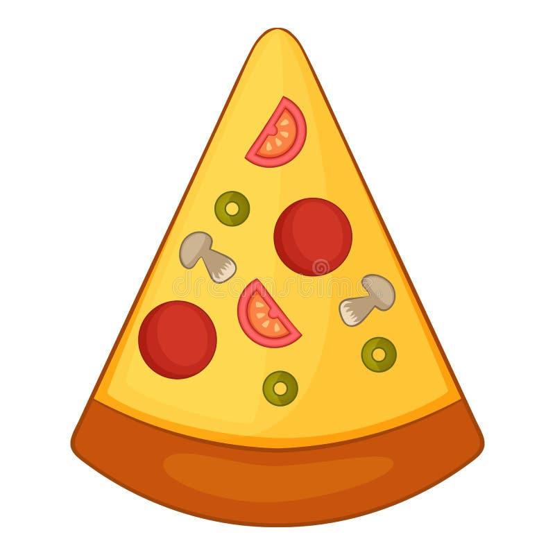 Skiva av pizzasymbolen, tecknad filmstil stock illustrationer