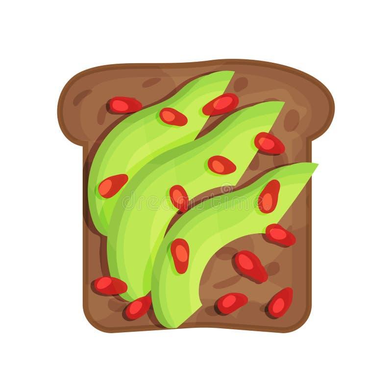 Skiva av smakligt rostat rågbröd med avokado- och granatäpplefrö äta som är sunt Skadat och brutet begrepp Plan vektordesign royaltyfri illustrationer