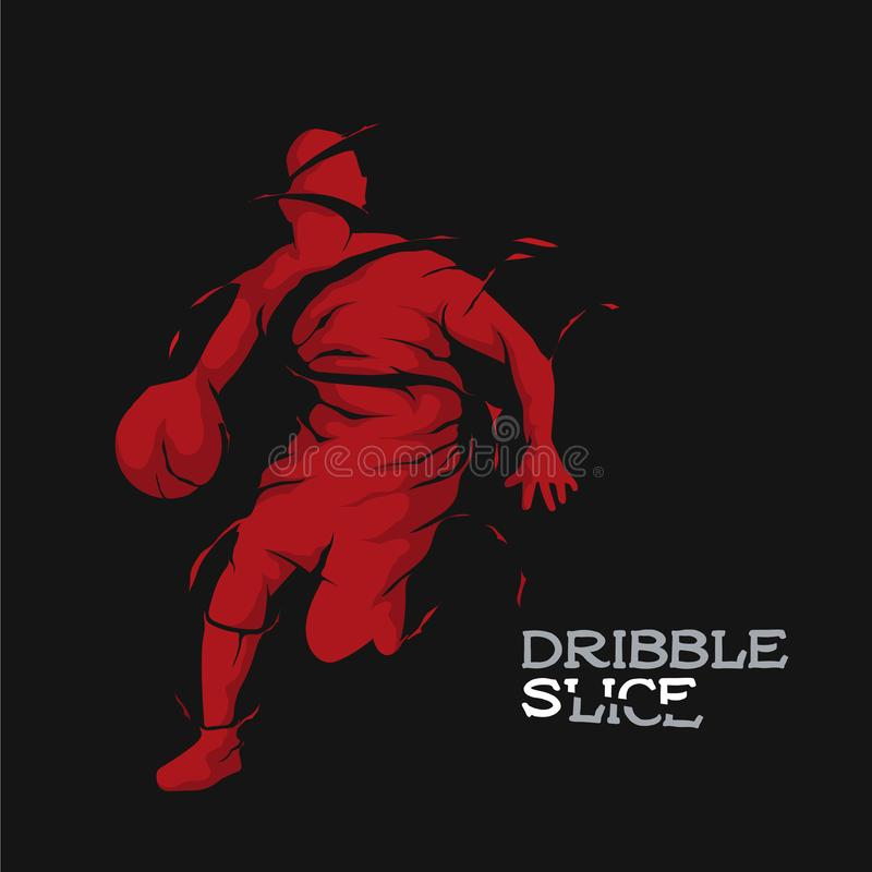 Skiva för basketkonturdribbling royaltyfri illustrationer