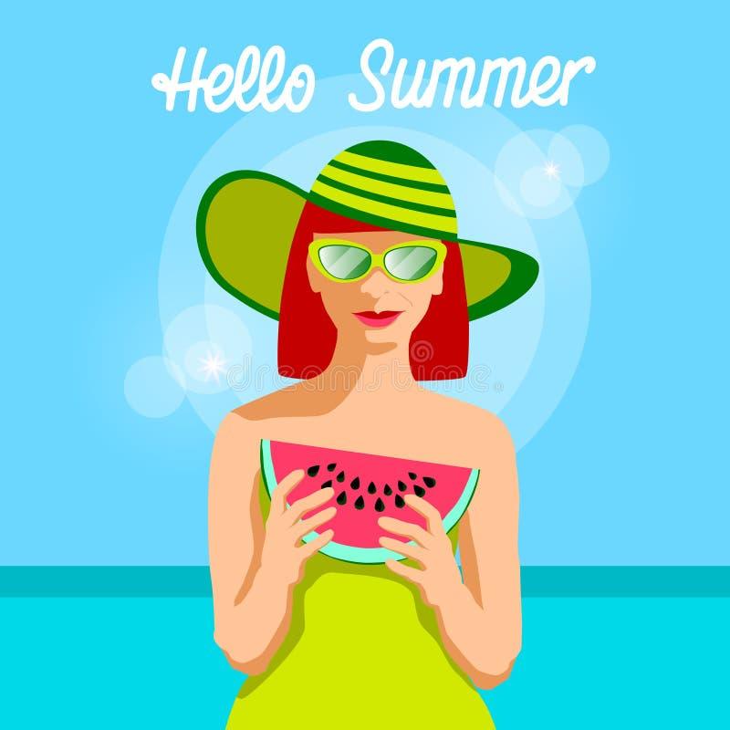 Skiva för melon för kvinnahållvatten över baner för havsbakgrundsHello sommar royaltyfri illustrationer