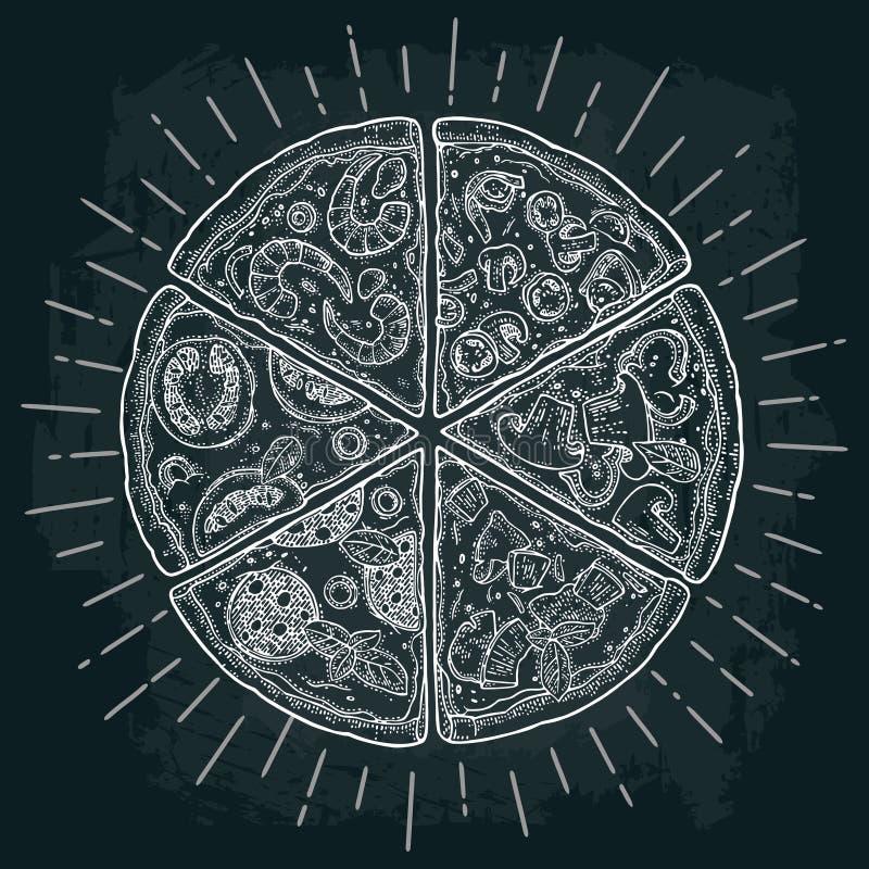 Skiva pizzapeperonin, hawaiibo, Margherita, mexikanen, skaldjur, Capricciosa gravyr royaltyfri illustrationer