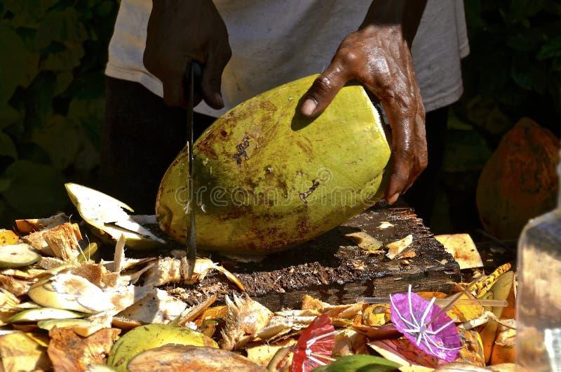 Skiva tropisk frukt med en machete royaltyfria bilder
