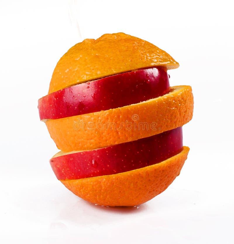 skivad äppleorange arkivbild