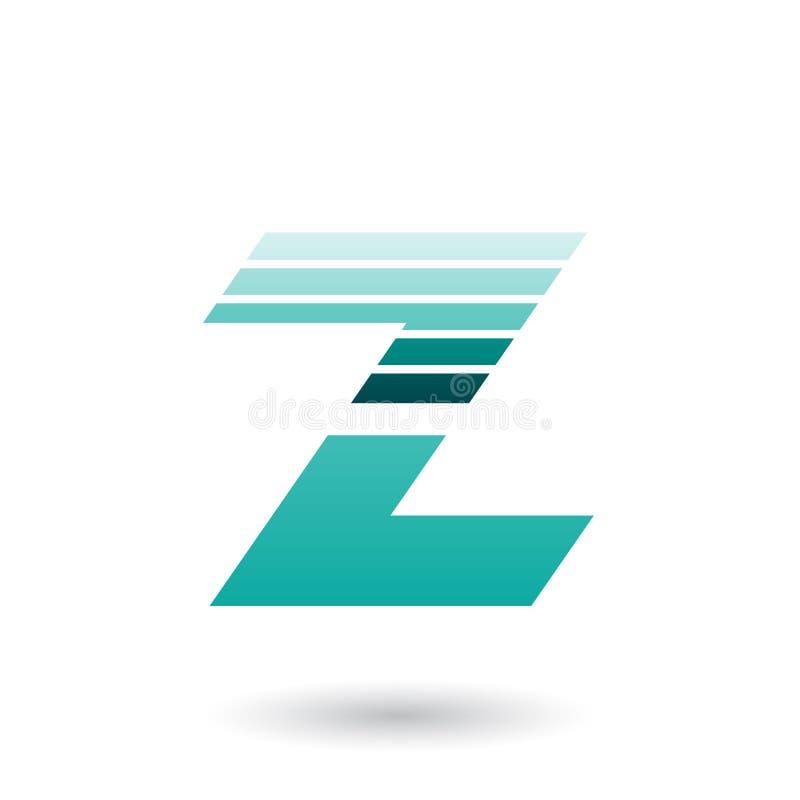 Skivad bokstav Z för perser gräsplan med tjocka horisontalband Vect vektor illustrationer