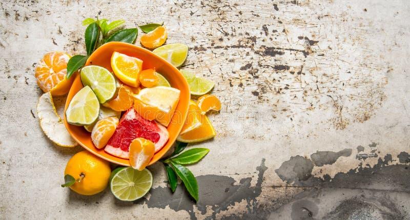 Skivad citrus - grapefrukt, apelsin, tangerin, citron, limefrukt i koppen royaltyfria foton