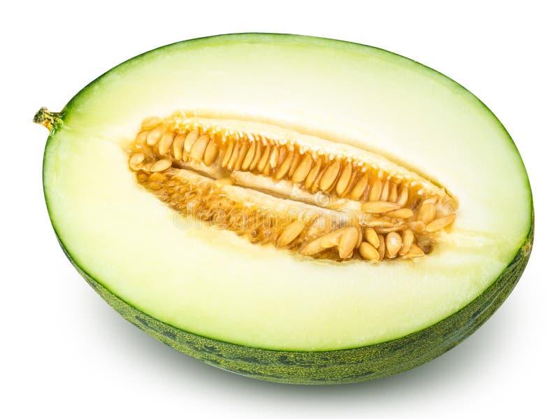 Skivad grön melon som isoleras på vit bakgrund royaltyfri fotografi