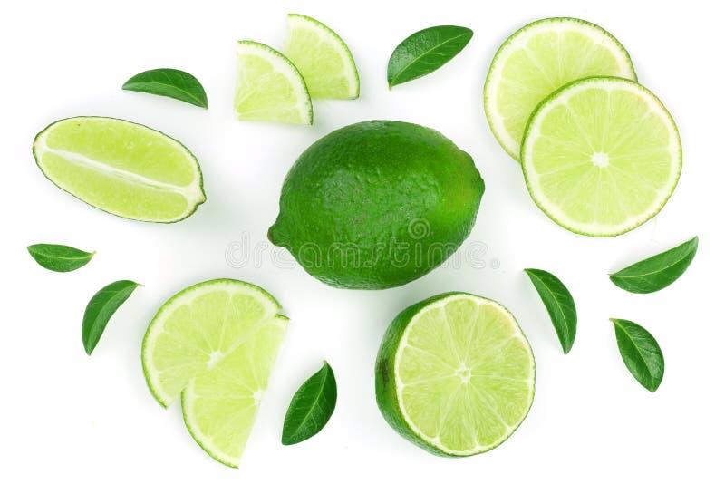 Skivad limefrukt med sidor som isoleras på vit bakgrund Top beskådar Lekmanna- modell för lägenhet royaltyfri foto
