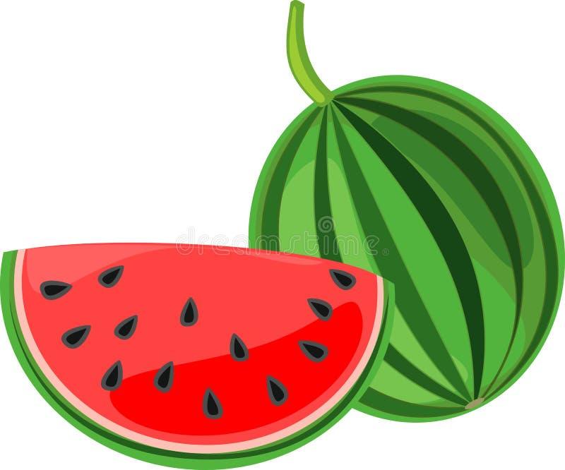 Skivad mogen röd vattenmelon som isoleras på vit bakgrund stock illustrationer