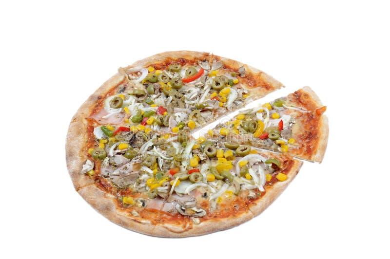 skivad pizza royaltyfria foton