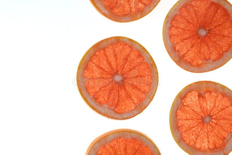Skivad r?d grapefrukt som isoleras p? vit bakgrund royaltyfria foton