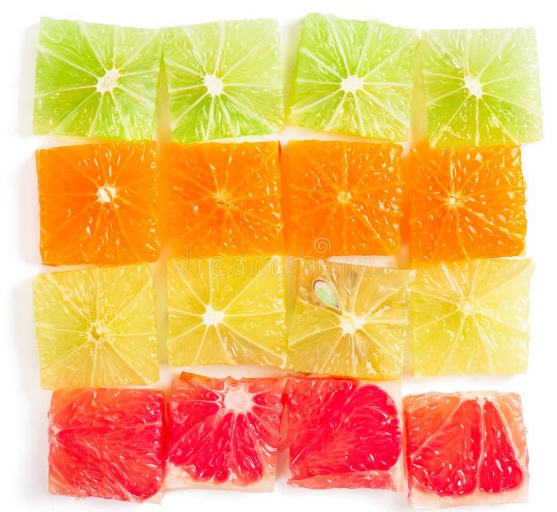 skivade citrusfrukter stycken close upp royaltyfri bild